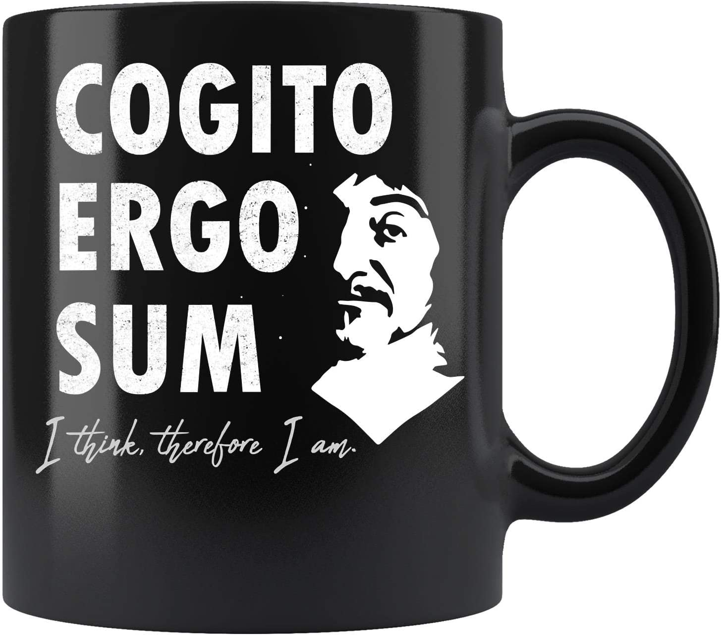 Descartes Cogito Ergo Sum Famous Philosophy Quote Coffee Mug 11oz Tea Cup Kitchen Dining