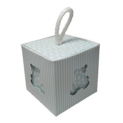 10 cajitas portaconfetti para nacimiento color azul celeste, para bautizo, detalle, bombonera, a lunares 5, x 5 x 5 cm: Bricolaje y herramientas