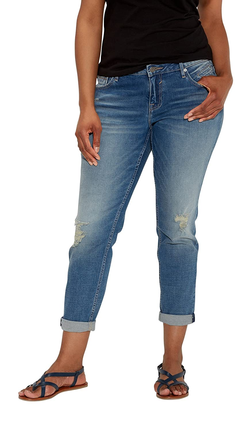 Maurices Women's Vigoss Plus Size Tomboy Destructed Jeans In Medium Wash