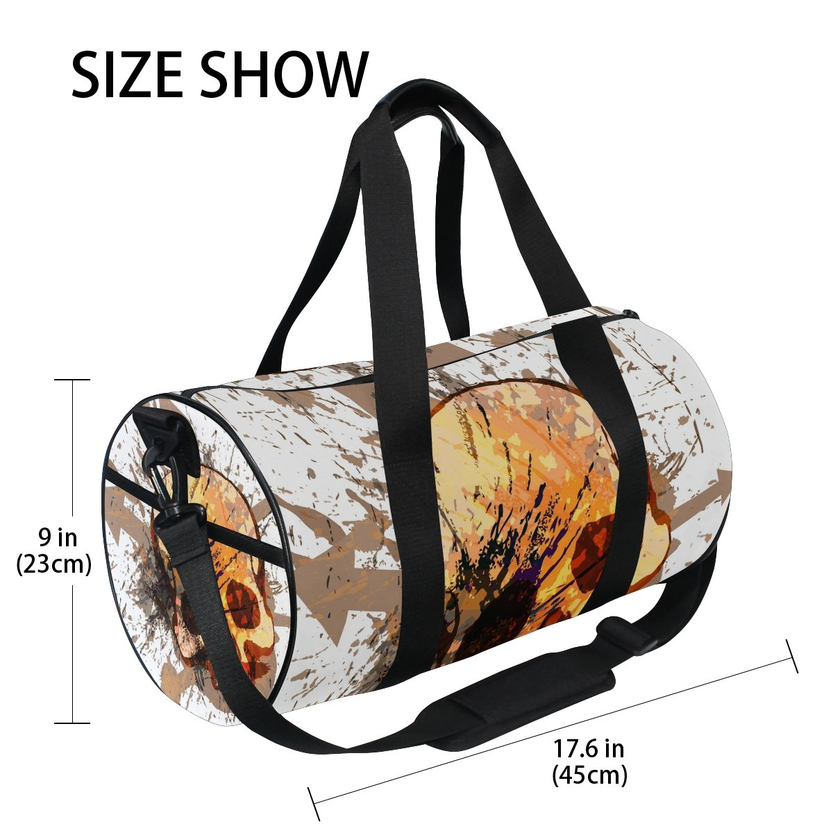 jstel calavera bolsa de deporte gimnasio para hombres y mujeres bolsa de viaje de viaje