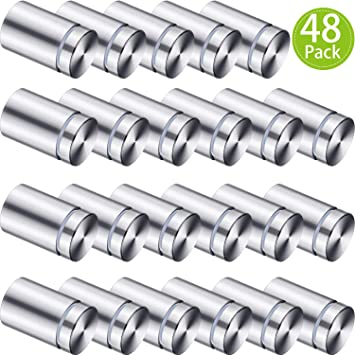 1//2 by 1 Inch Sign Standoff Screws Wall Standoff Sign Holders Screws Mount Glass Acrylic Advertising Nails 24 Pieces