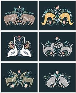 Woodland Nordic Animal Prints - Set of 6 (8x10) Inches Glossy Scandinavian Boho Nursery Folk Wall Art Decor - Deer Fox Bear Wolf Swan Rabbit Bunny Deer