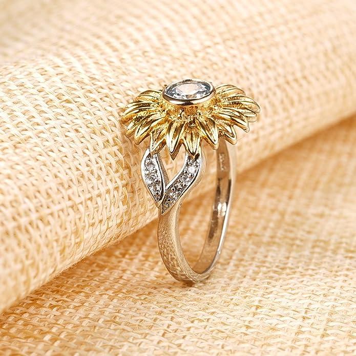 7c7a2b7111200 Dalaran Sunflower Cubic Zirconia Ring with Side Stone Leaf Eternity ...