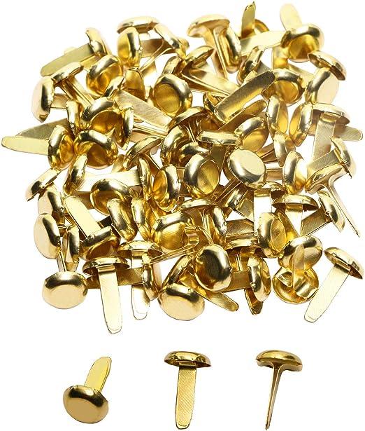 Healifty 100pcs Mini Brads Metal Round Pearl Brad Paper Fastener for Scrapbooking Craft DIY Paper Gold