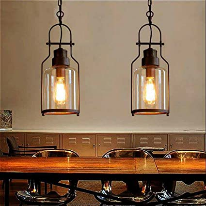 Attractive SUSUO Lighting 6u0026quot; Wide Vintage Industrial Glass Pendant Ceiling Hanging  Light With Cylinder Glass Shade
