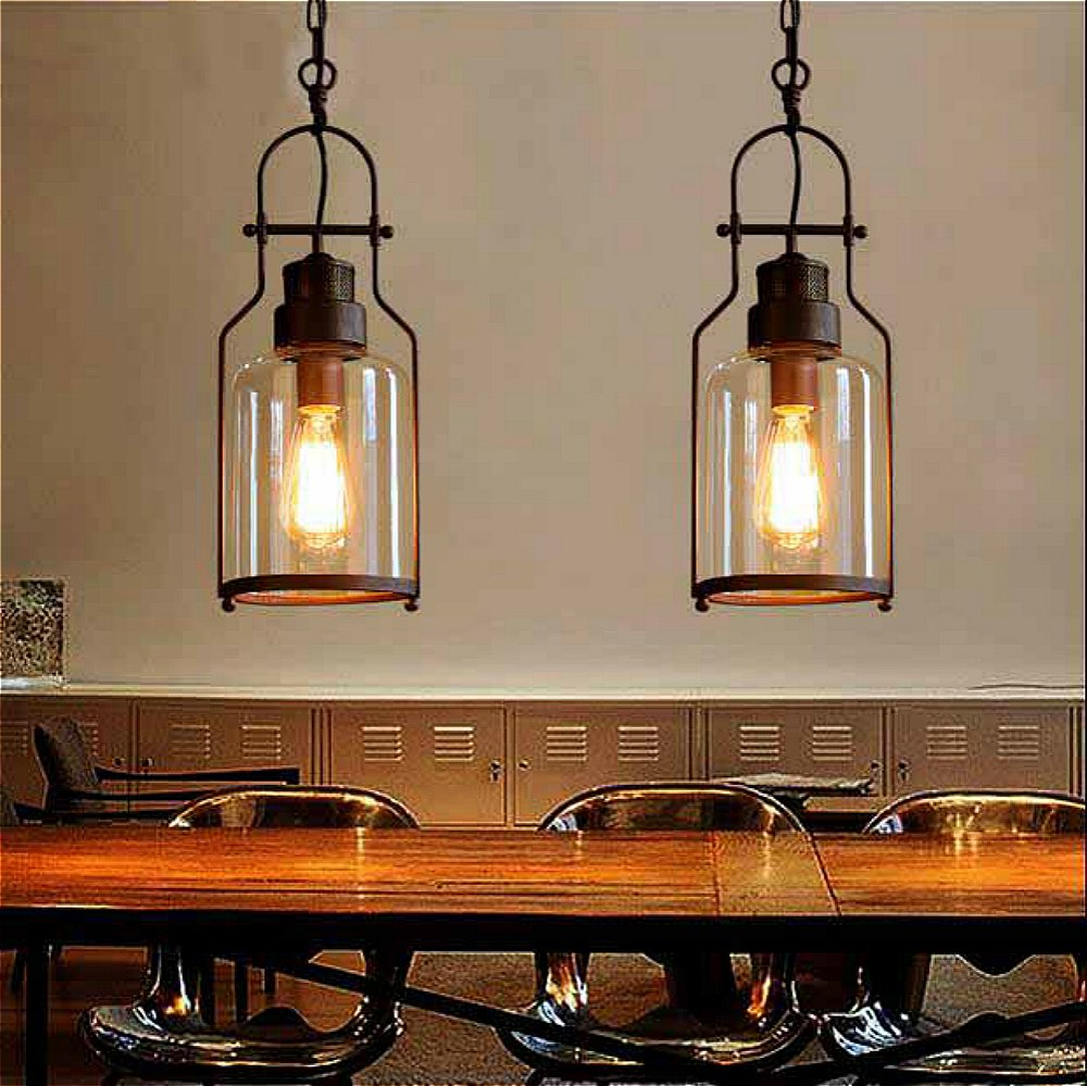 SUSUO Lighting 6'' Wide Vintage Industrial Glass Pendant Ceiling Hanging Light with Cylinder Glass Shade,Antique Copper Finish