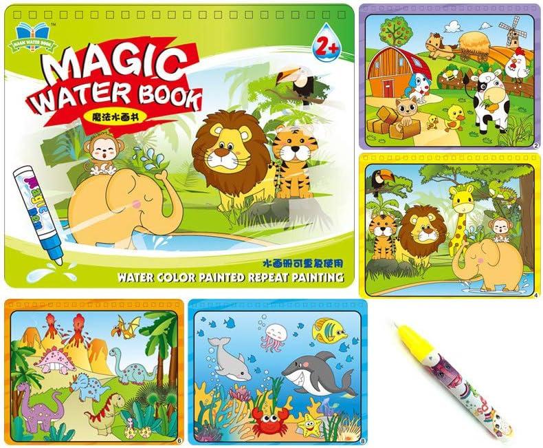 Sipobuy Magic Water Drawing Book Agua Libro para Colorear Doodle con Magic Pen Tablero de Pintura para niños Educación Dibujo Juguete (Animal World)