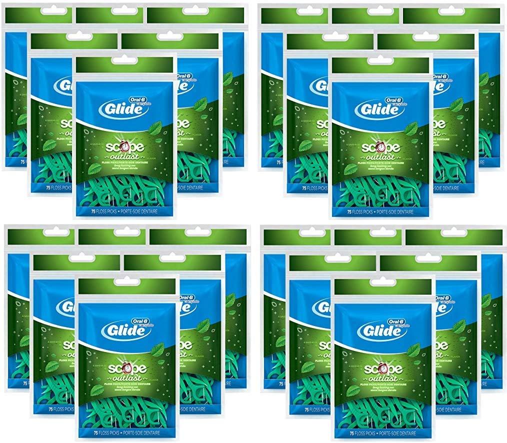 Oral-B Complete Glide Dental Floss Picks Plus Scope Outlast, Long Lasting Mint, 75 Dental Floss Picks, (24-Pack)