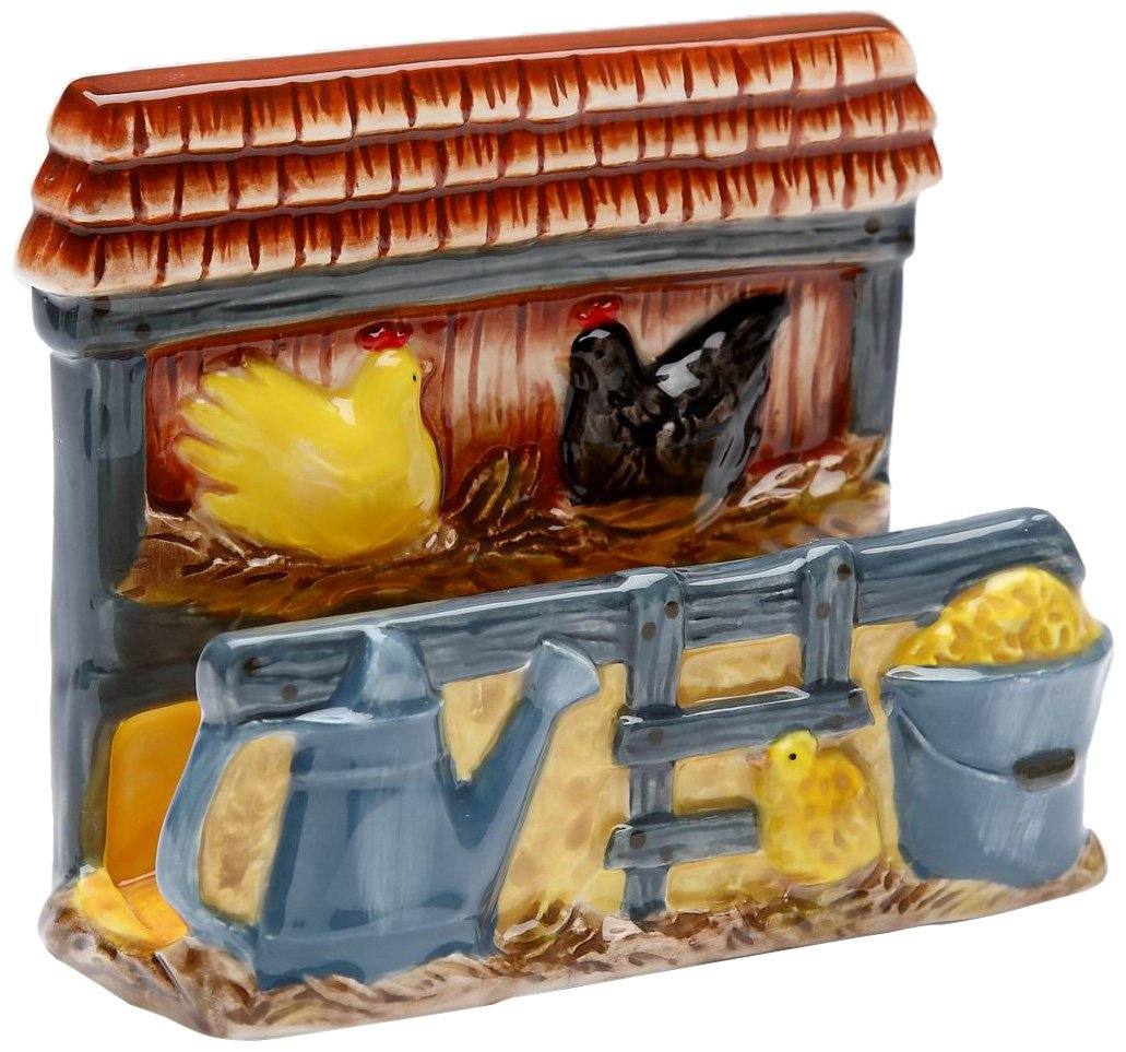 Appletree Design A Day in the Country Rooster Napkin Holder, 5-1/4 by 4-1/8-Inch
