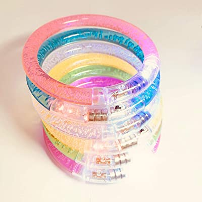 Light Up Bracelets, 12 Pack LED Bracelets, Flashing Glow Bracelets with Batteries Glow in The Dark, Christmas Lights for Adults Kids Parties Wedding Birthday Night Games Fun Events Xmas Entertainments: Toys & Games