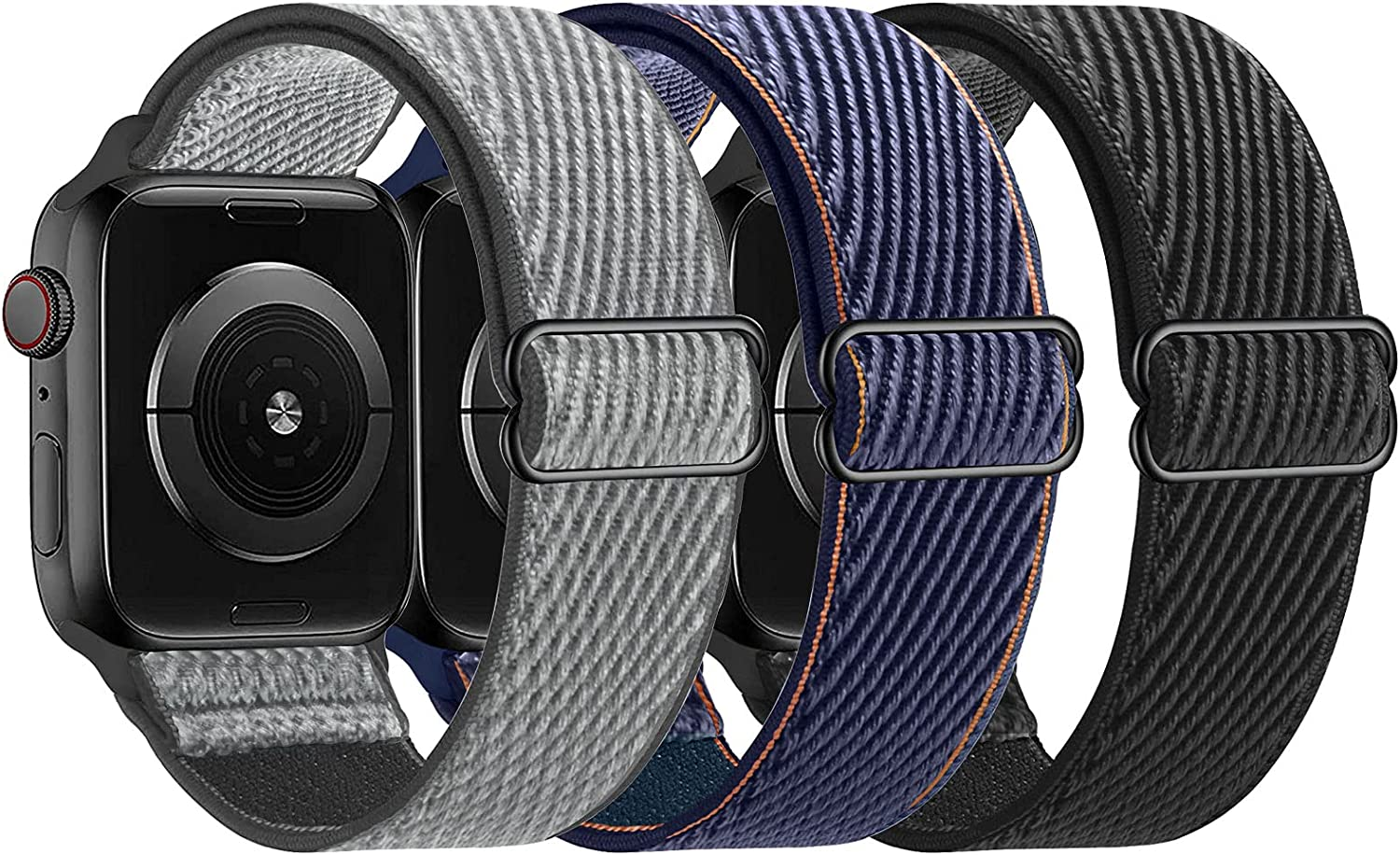 LANGXIAN 3 Pack Nylon Elastic Strap Compatible with Apple Watch Bands, Solo Loop Adjustable Stretch Braided Wristband for iWatch Series 6/5/4/3/2/1/SE, 42mm 44mm (Storm-Gray/Deep Navy/Black)