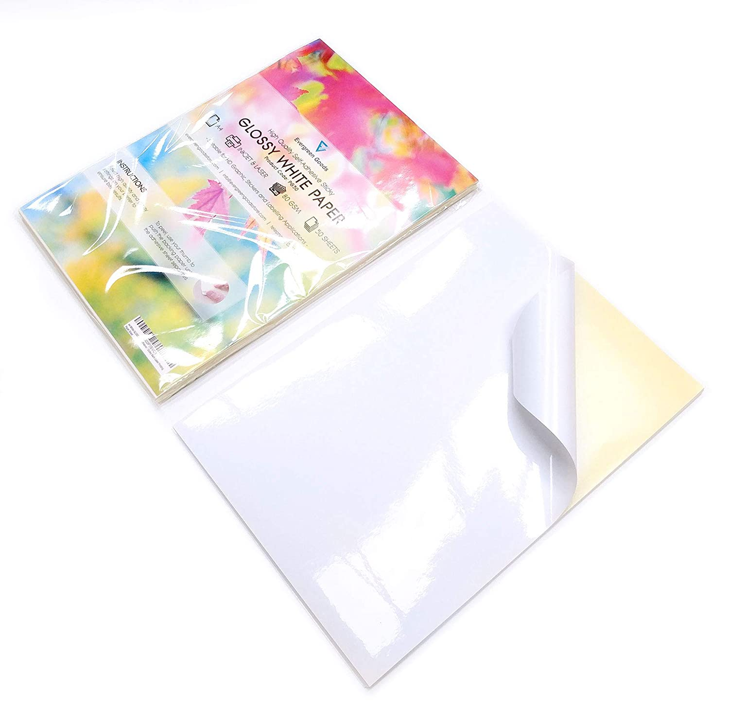 10 Sheets of Quality A4 White GLOSSY Self Adhesive / Sticky Back Label Printing Paper Sheet Evergreen Goods