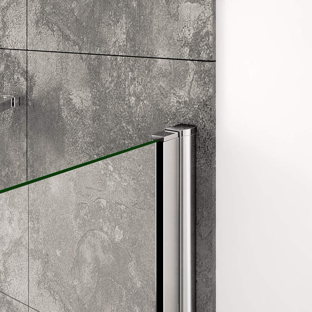 Pare-baignoire 90x140cm pivotant /à 180/°,avec une paroi fix/ée 70x140cm,verre transparent,profil/é alu nature
