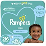 Baby Wipes, Pampers Complete Clean SCENTED 3X Pop-Top, Hypoallergenic and Dermatologist-Tested, 216 Count (Packaging May Vary
