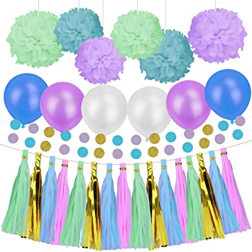 Party Decorations Paper Kit For Birthday Wedding Christmas Supplies Set Blue Purple And Green