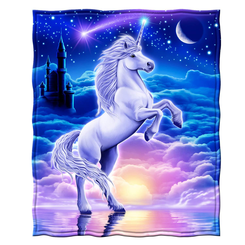 "Dawhud Direct Super Soft Full/Queen Size Fleece Blanket, 75"" x 90"" (Unicorn Kingdom)"