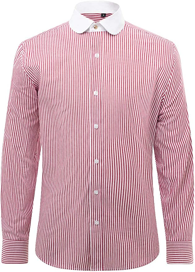 Mens Vintage Shirts – Retro Shirts Loch Hart Mens Red Bengal Stripe Shirt with Contrast Penny Collar Regular Fit £39.99 AT vintagedancer.com