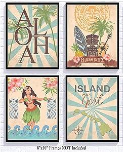 Silly Goose Gifts Retro Hula Hawaii Tropical Island Themed Art Print Wall Decor Tiki (Island Girl)