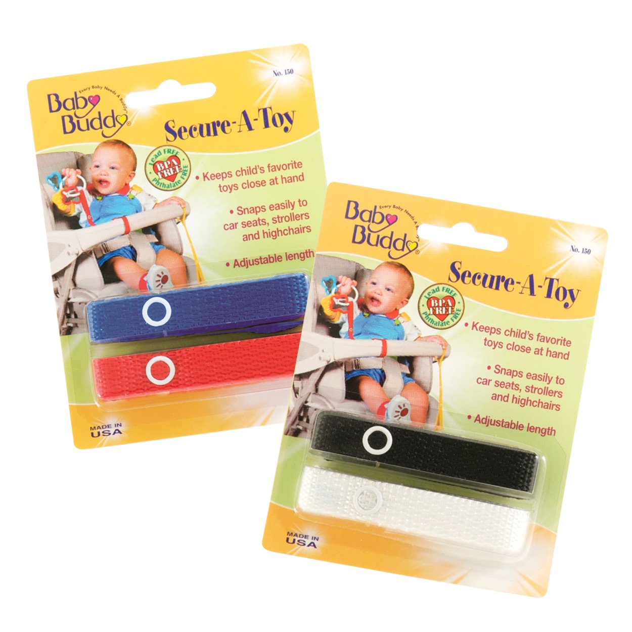 Baby Buddy Secure-A-Toy straps 4ct for 6-36 months (Multicoloured) Compac Industries 04152-RyRWBk