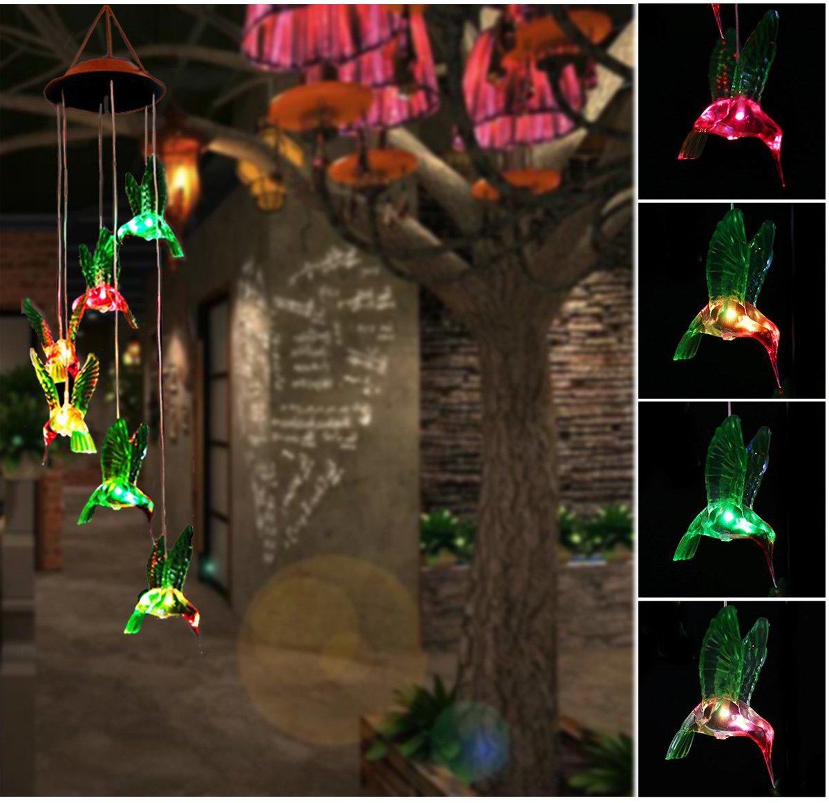 PESTORY Solar LED Hummingbird Wind Chimes Light LED Changing Light Color Waterproof Six Hummingbird for Home/ Garden/ Light Lamp/ Night Garden Decoration