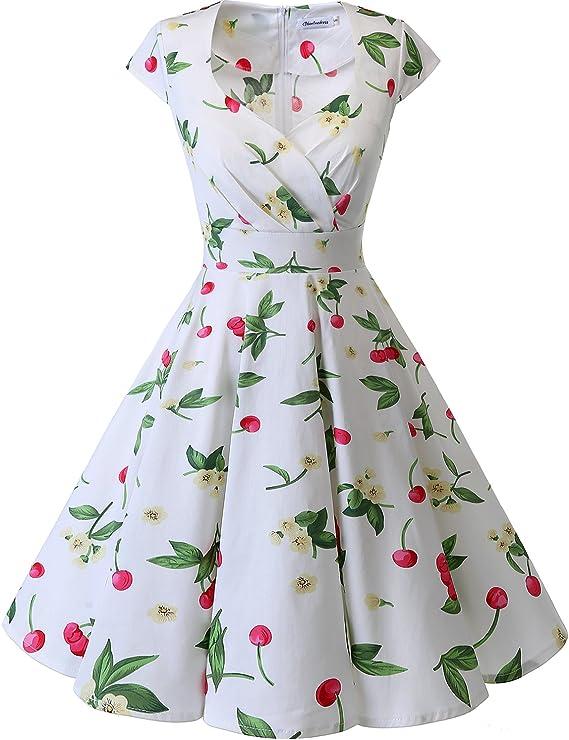 TALLA M. Bbonlinedress Vestido Corto Mujer Retro Años 50 Vintage Escote White Small Cherry