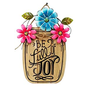 D-Fokes Handcrafts Hanging Vintage Metal Flower Welcome Porch Garden Wall Art Decor, Be Full of Joy Garden Yard Patio Front Door Wall Decoration