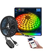 MINGER DreamColor TV LED Light Strip, APP Control 6.56ft Waterproof RGB TV Backlight Bias Lighting Kit, Color Changing by Sync to Music