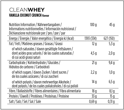 PowerBar Clean Whey Vanilla Coconut Crunch 18x45g - Barras de Proteína con Bajo Contenido de Azúcar