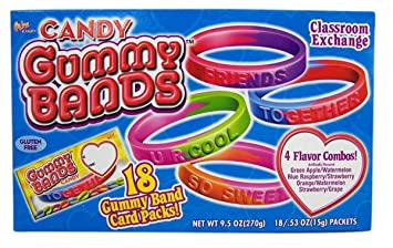 Gummy Bands Valentine's Candy Bracelets with Cards, Box of 18