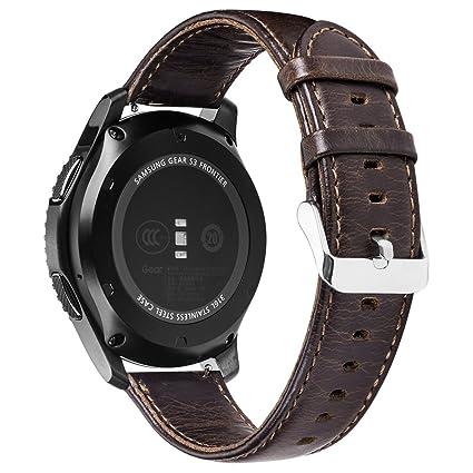 Pinhen 22mm Pulsera de Repuesto 22mm Correa Reemplazo Genuine Cuero Correa de Reloj para Gear S3, Moto 360 46MM, Ticwatch 1nd, ASUS Zenwatch, LG G ...