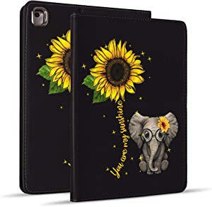 iPad 9.7 2018/2017 Case, iPad Air 2, iPad Air, Pro 9.7 Case, Protective Leather Case, Adjustable Stand Auto Wake/Sleep Smart Case for ipad 6th/5th Gen - Sunflower and Elephant