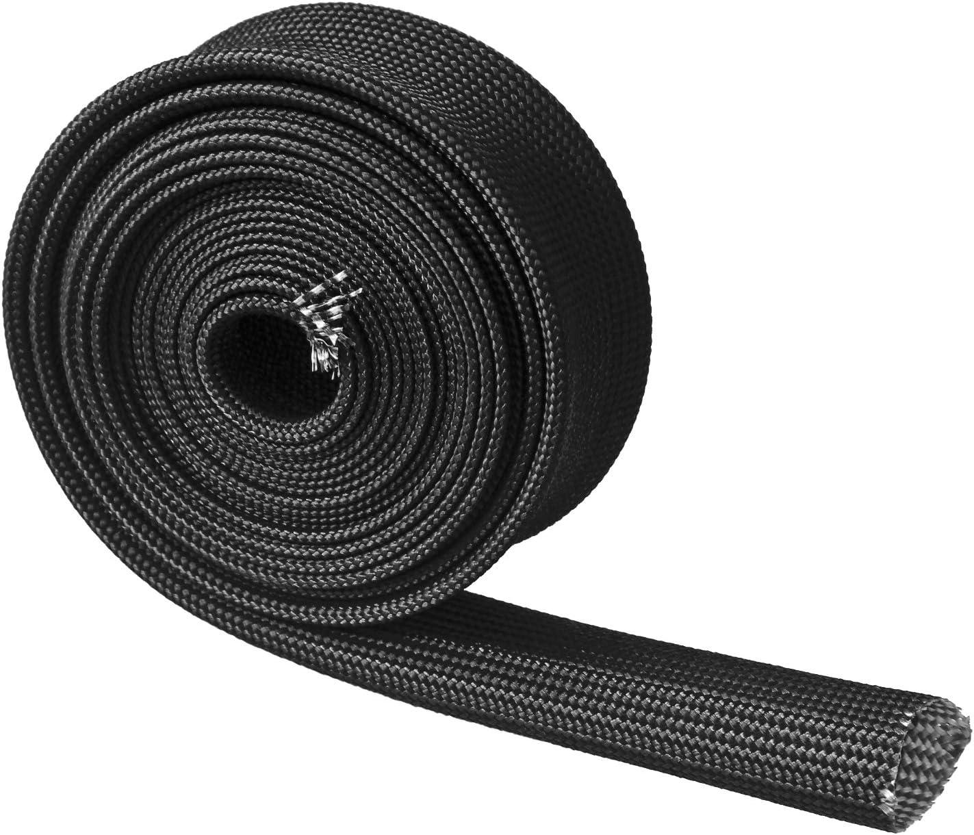 "Auto Heat Sleeve Fiberglass Adjustable Heat Shield 10FT-20MM(3/4"") Black Exhaust Heat Shield For Car Wire Loom Heat Shield Brake Line Cable Heat Shield"