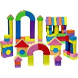Click N' Play Non-toxic Foam Blocks, Building Block and Stacking Block, Amazing As Bath Toys, 60 Count with Carry Tote