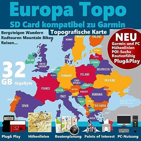 Italien 4 GB Topo Map Outdoor Karte Bergsteigen F/ür Ihr Garmin Navigationsger/ät Wandern Radfahren Geocachen Radtour Reise Deutschland /Österreich Schweiz