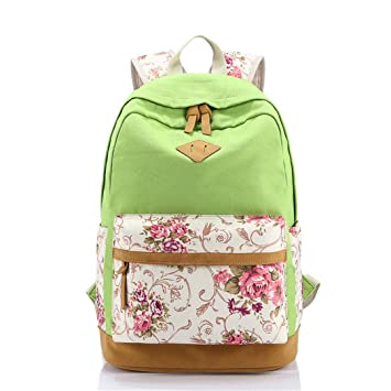 Impresión floral Mujeres mochila escolar para adolescentes Mochilas Mujer lona niños Mochila Light Green