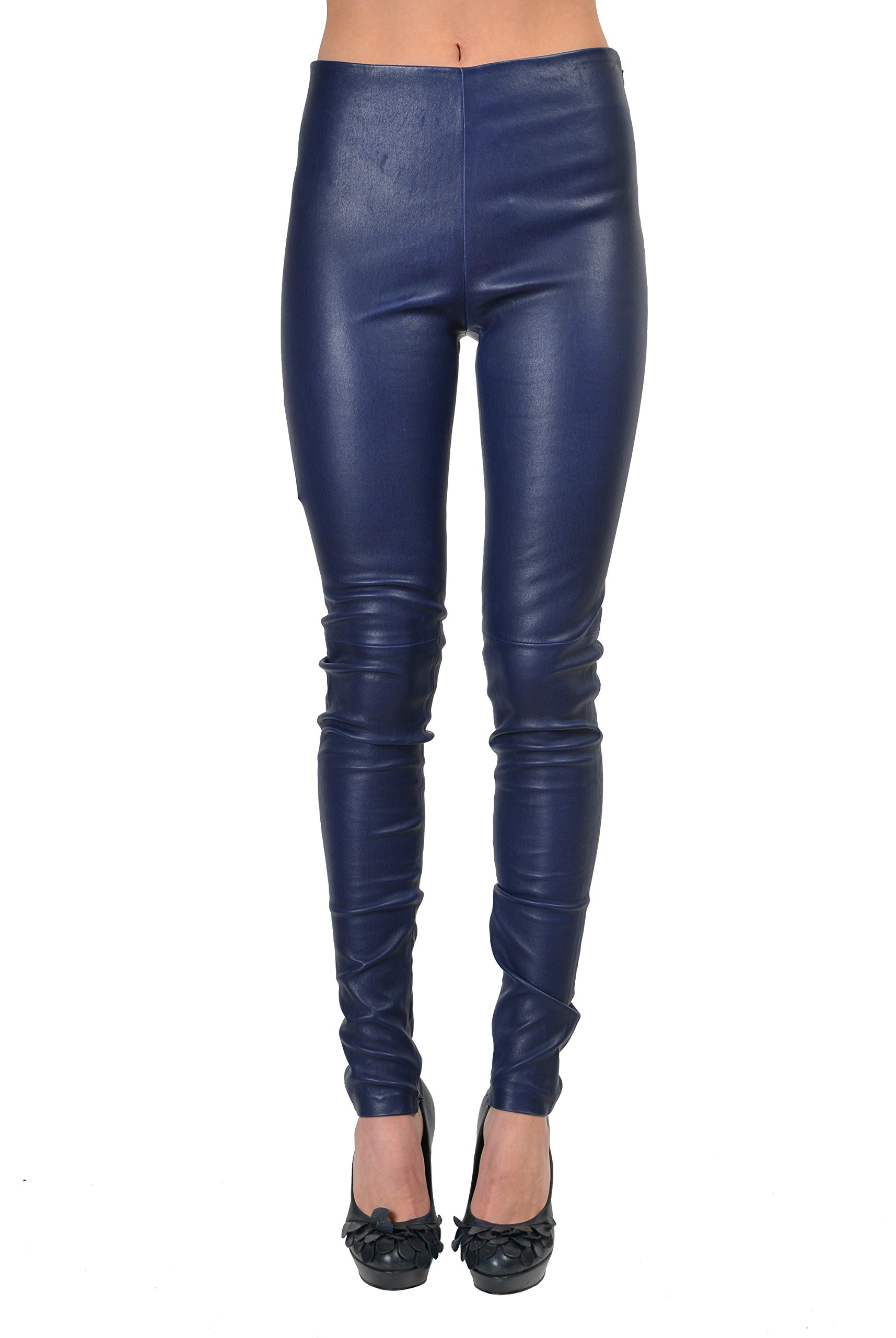 Balenciaga 100% Leather Navy Slim Fit Women's Casual Pants US 0 IT 36