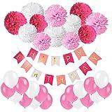 Recosis compleanno Party decorazione ghirlanda Happy Birthday Bandierine Banner con carta velina Pom Pom e palloncini per ragazze e ragazzi ogni eta ', carta, Rosa, Rosa e Bianco, 30,4x 15x 2,8cm