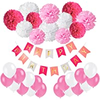 Happy Birthday Banner, Recosis Birthday Bunting Paper Garland with 12pcs Tissue Paper Pom Poms and 20pcs Balloons for Birthday Party Decorations - Pink, Rose Red and White
