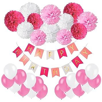 Recosis - Decoración para fiesta de cumpleaños, guirnalda Happy Birthday con pompones de papel de seda y globos para niñas y niños de cualquier edad - ...