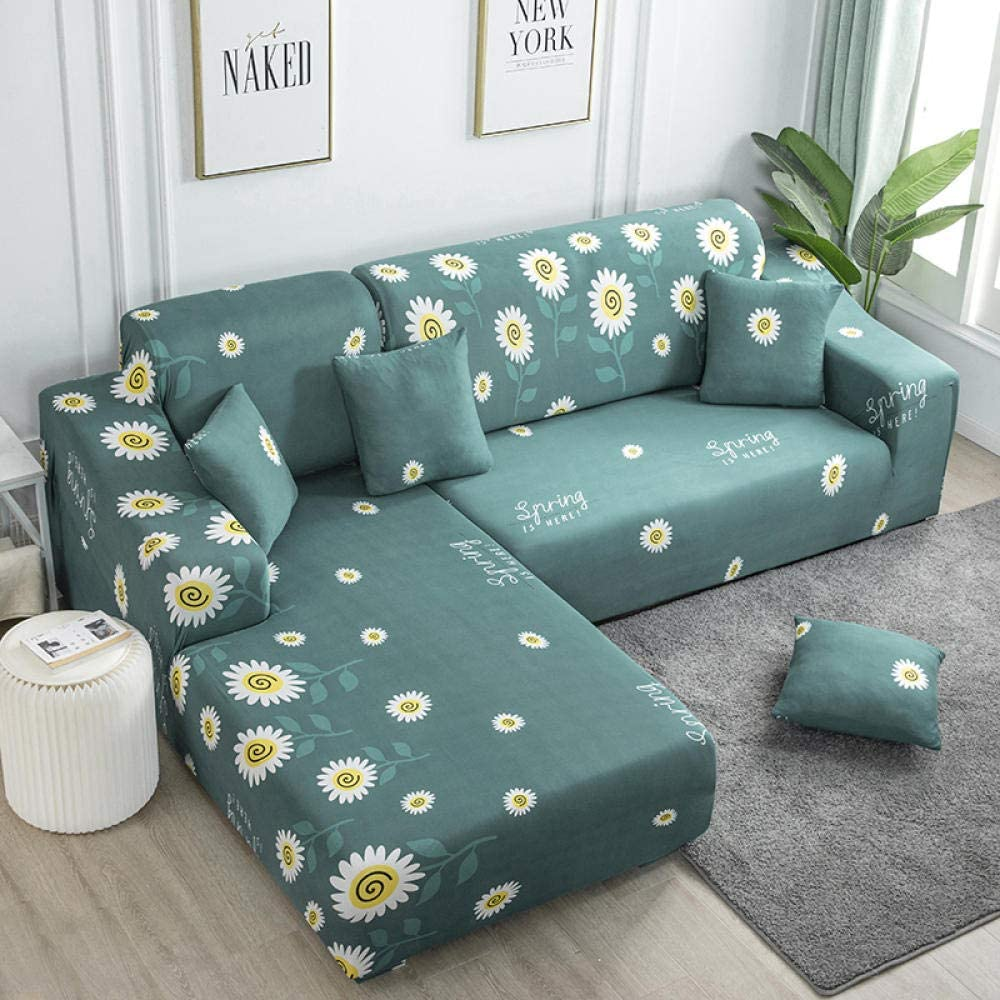 Easy-Going Slipcover Stretch L Shape Sofa Cover Furniture Protector Round Sunflower Polyester Material Sofa Bed Cover, with 3 Pillow Cases Furniture Protector with Elasticity for Kids