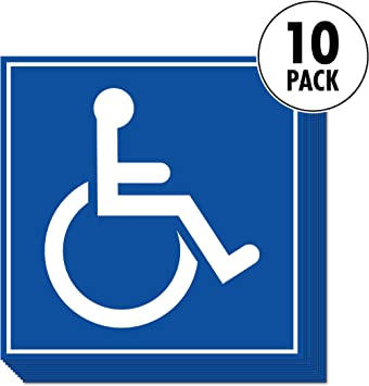 "Accessible Public Wheelchair Convenient And set Parking X Decals 5"" Of For 5 Restrooms 5"