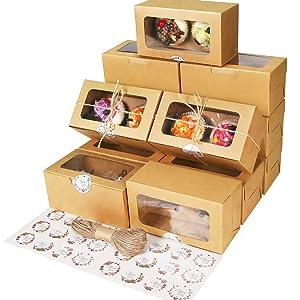 40 Packs Brown Bakery Boxes with Window,Food Grade Kraft Cupcake Holders6.2