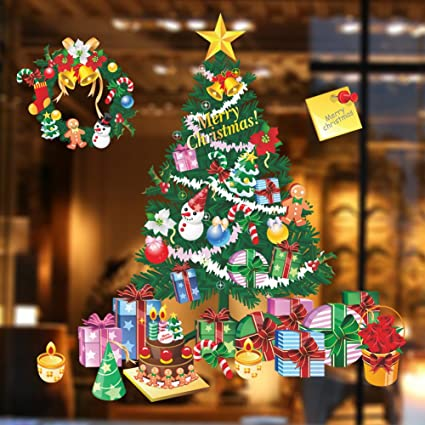 merry christmas window clings tree removable home decor wall stickers window decor decals christmas garland for - Merry Christmas Window Decorations
