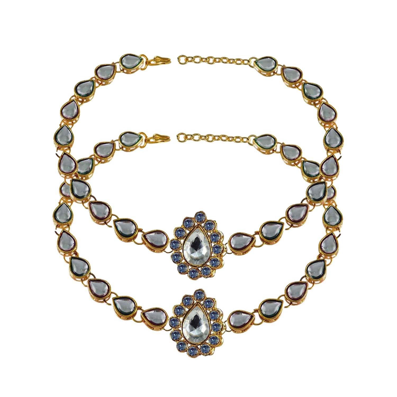 White Stone Stud-Gold Platted Brass Anklet elegant charm Bracelet Payal