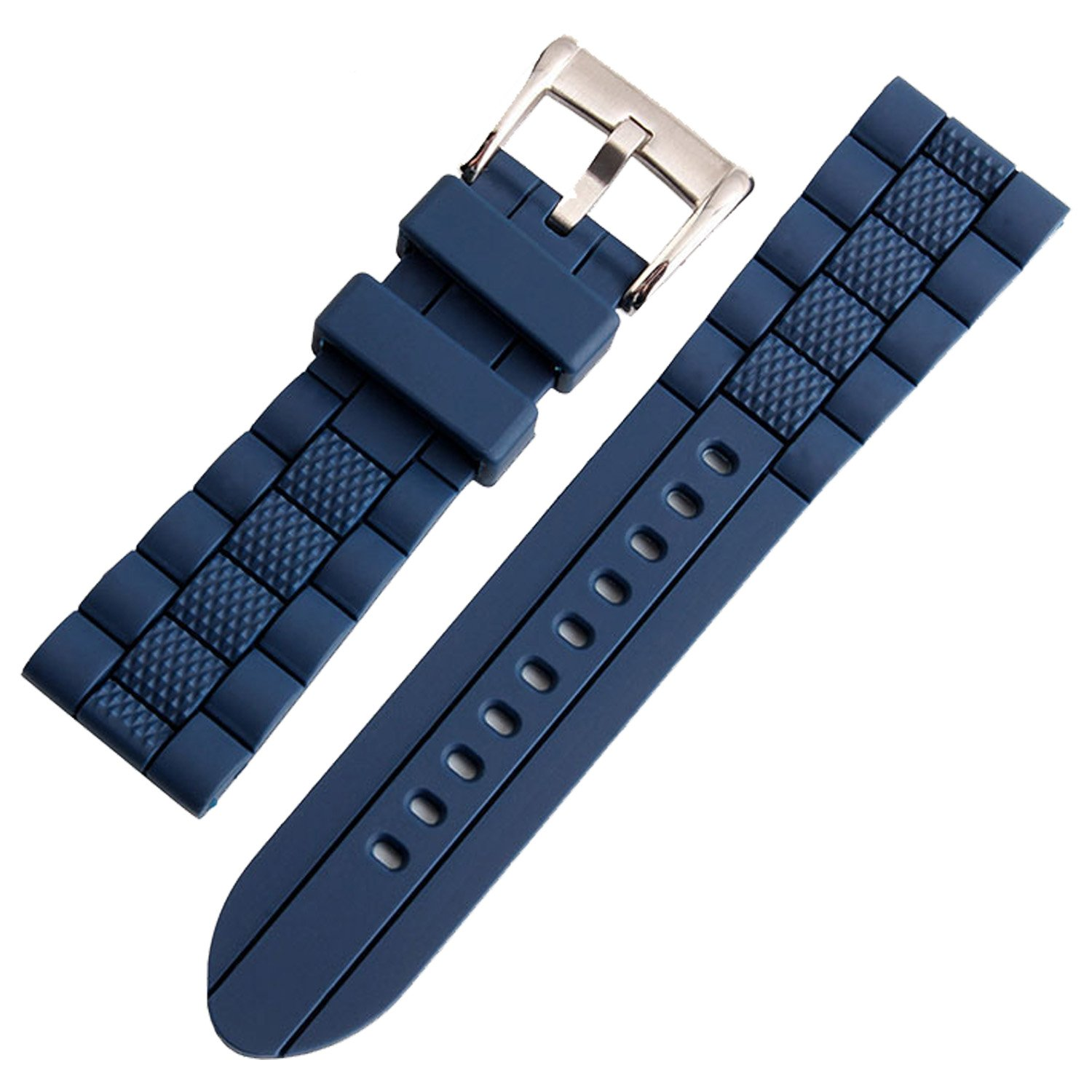 1fb12bad3f9 Amazon.com  TIMEBEST 20mm Blue Silicone Rubber Watch Strap Band for Diver  Sport Watch Replacement  Watches
