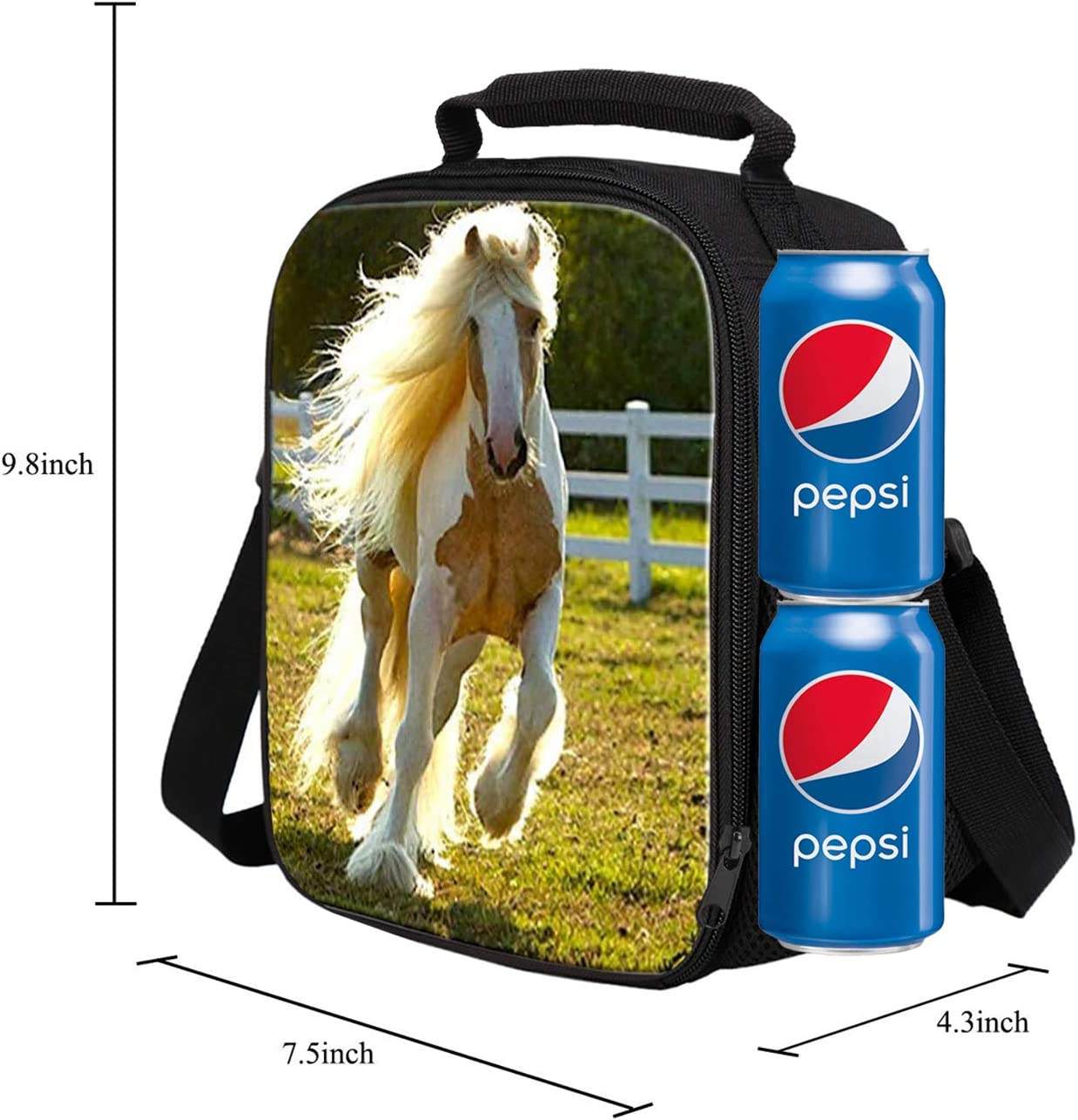 Children Travel Picnic Bag Insulated Tote Bag Lunch Box with Drink Bottle Holder with Shoulder Strap for Boys Girls 3D Print Blue Emoji Design