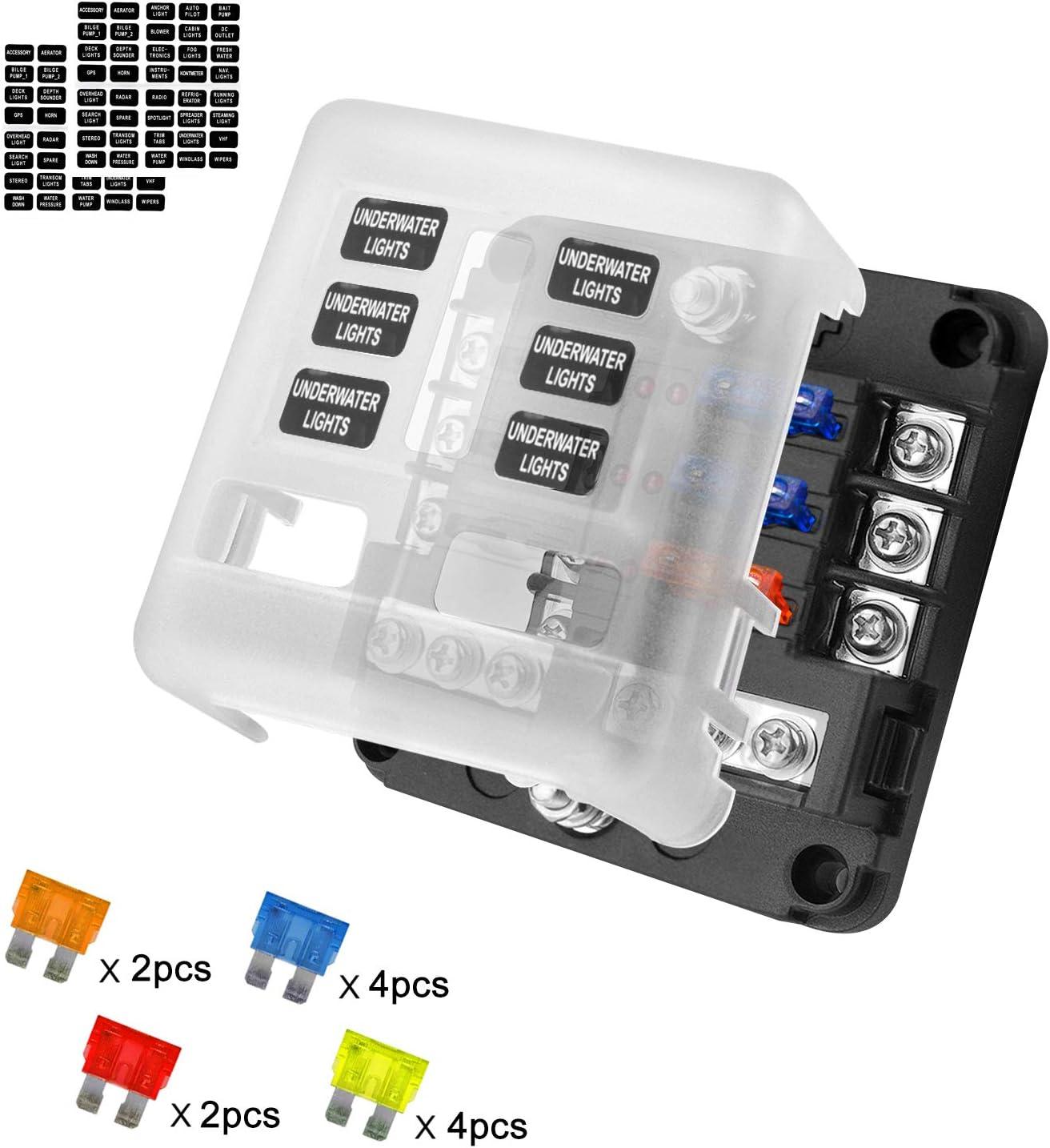 KKmoon Caja de Fusibles 10 V/ías Portafusibles con L/ámpara de Alerta LED Kit para Coche Barco 12V 24V