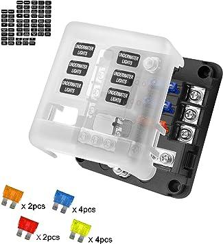 Caja de Fusibles Porta fusibles 6 Vías Portafusibles con Lámpara de Alerta LED Kit Tamaño Hoja Fusible Caja de Bloque Sostenedor para Coche Barco Marino Triciclo: Amazon.es: Electrónica
