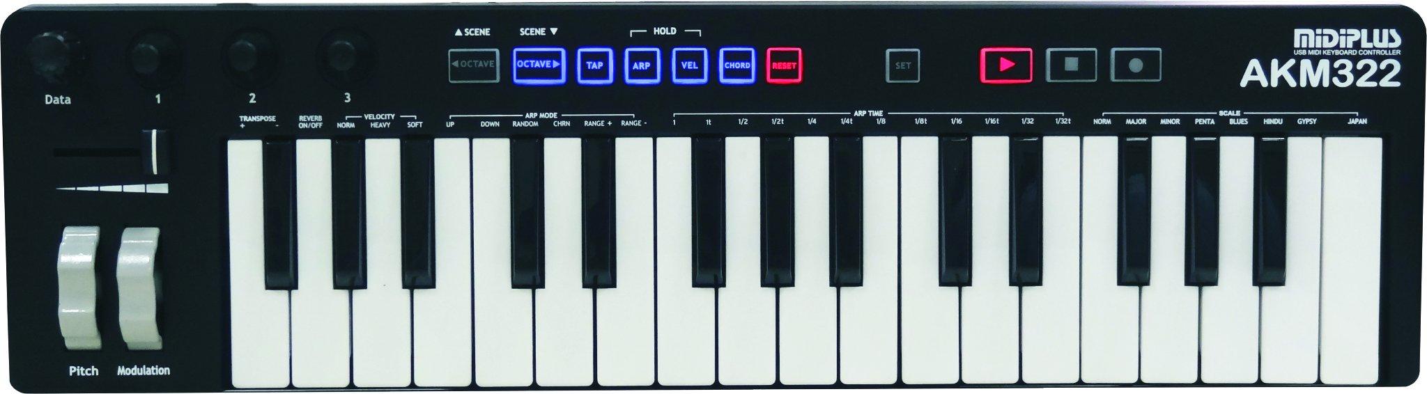 midiplus AKM322 mini size 32 keys USB MIDI Keyboard Controller by Midiplus