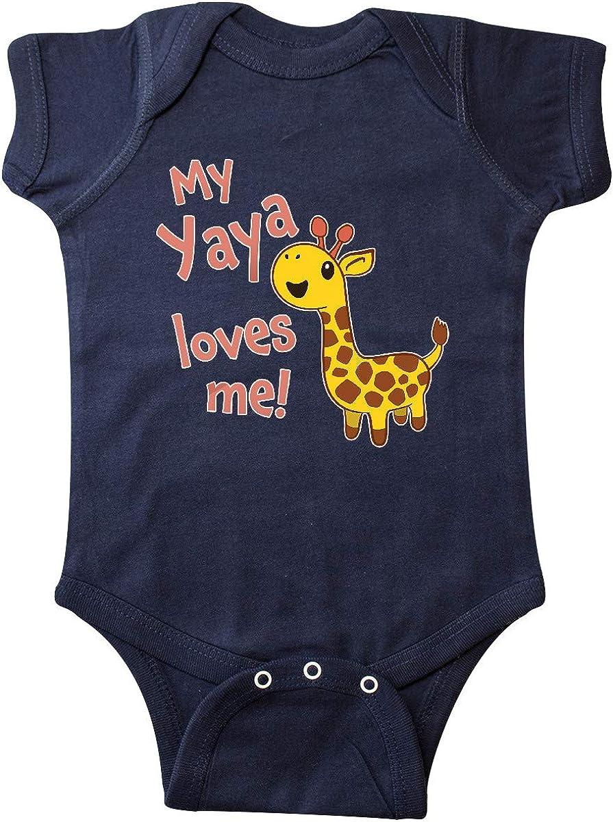 inktastic My Yaya Loves Me- Cute Giraffe Infant Creeper 6 Months Navy Blue 71wNfqM2W6L